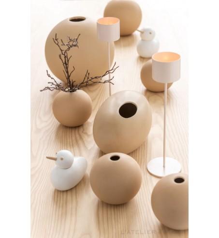 Vase ovale céramique beige