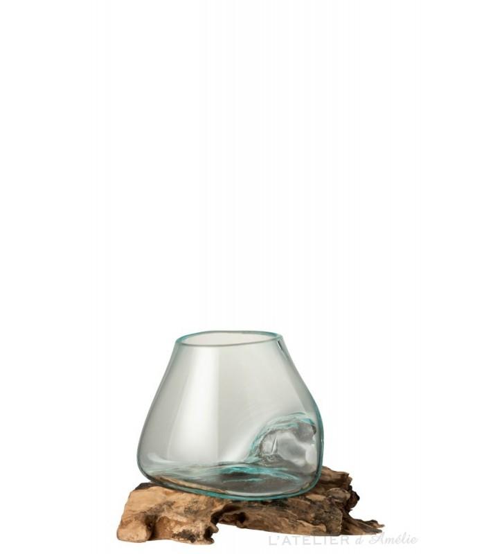 Vase sur pied Bois / Verre recyclé Naturel / Transparent