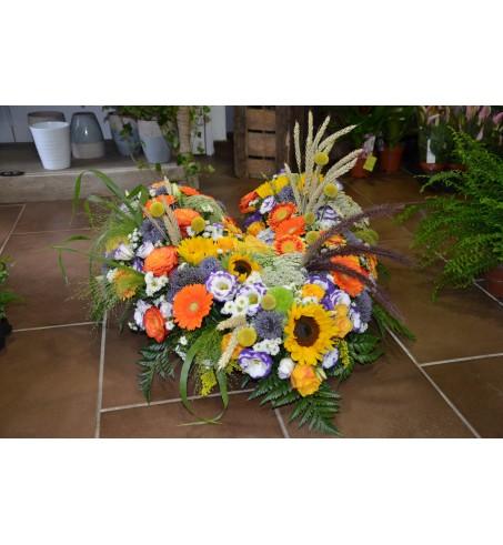 Cœur de fleurs pour deuil