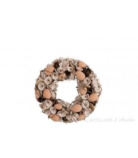 Couronne fleurs Séchées / Œufs Polyforme Blanc / Marron