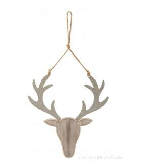Suspension de Noël tête de renne en bois Naturel Paillettes Argent