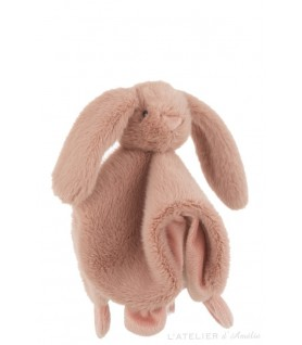 Doudou lapin peluche rose