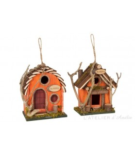 Nichoir en bois orange