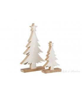 Petit sapin de Noel blanc en bois de manguier