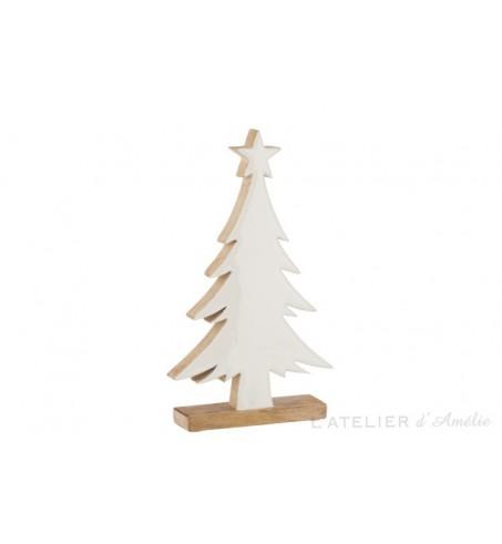 Grand sapin de Noel blanc en bois de manguier