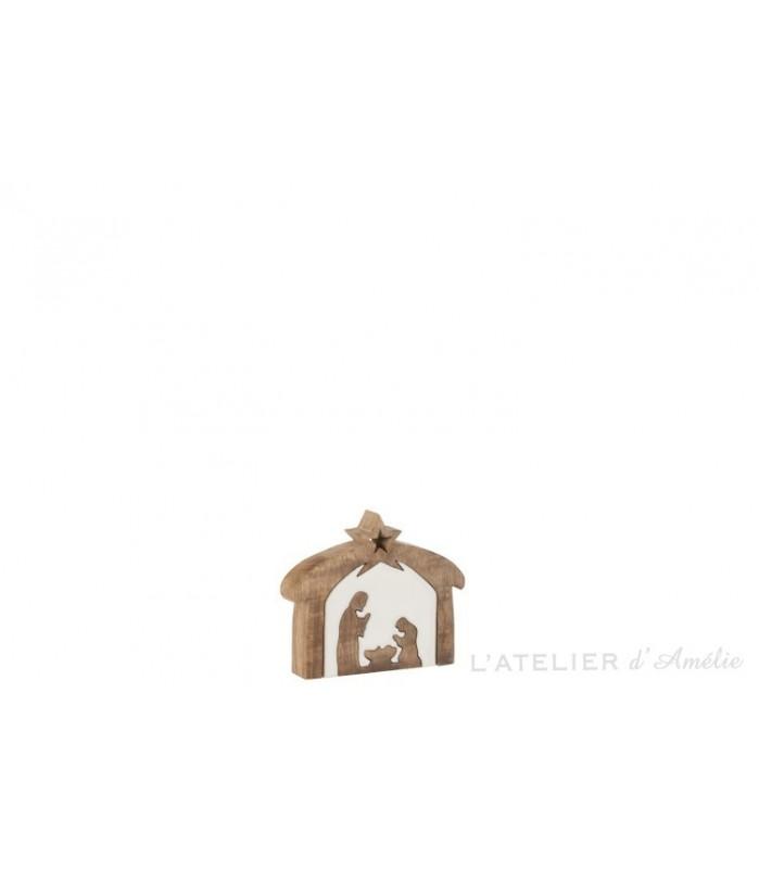 Petite crèche de noël puzzle en bois de manguier