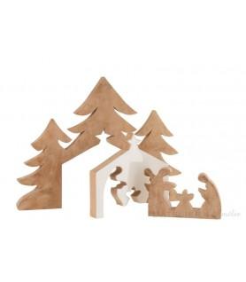 Grande crèche de noël puzzle en bois de manguier