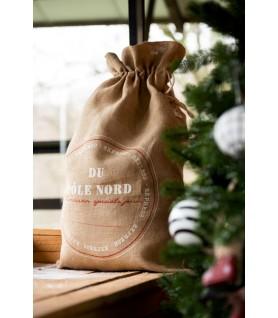 Moyen sac en toile de jute pour noël