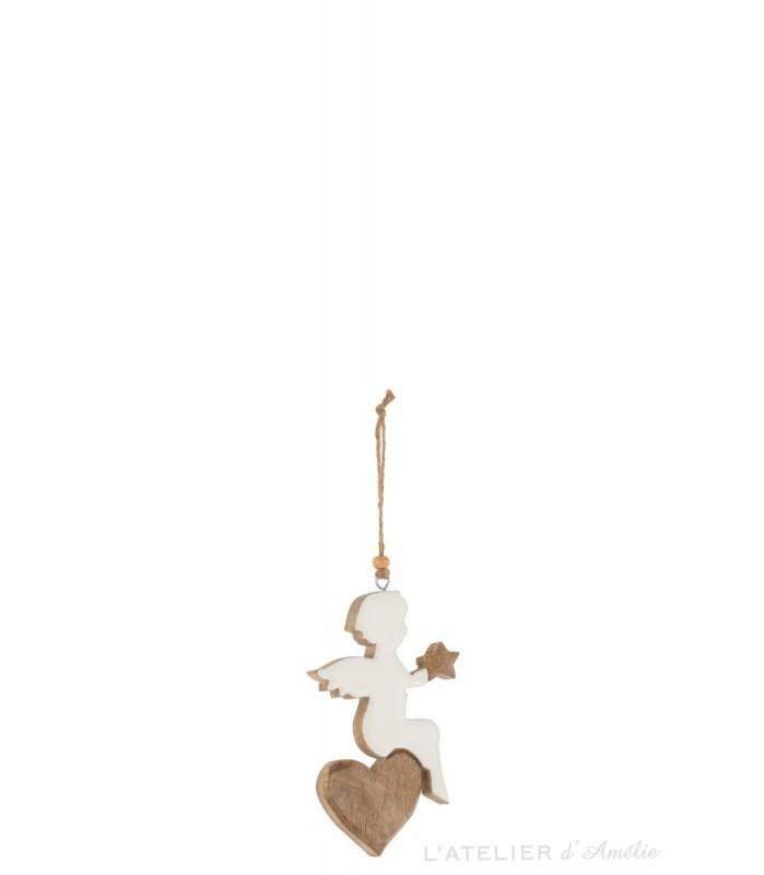 Ange sur cœur bois a suspendre Blanc / Naturel