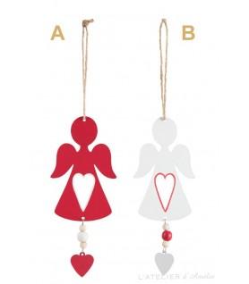 Ange à suspendre en métal blanc ou rouge