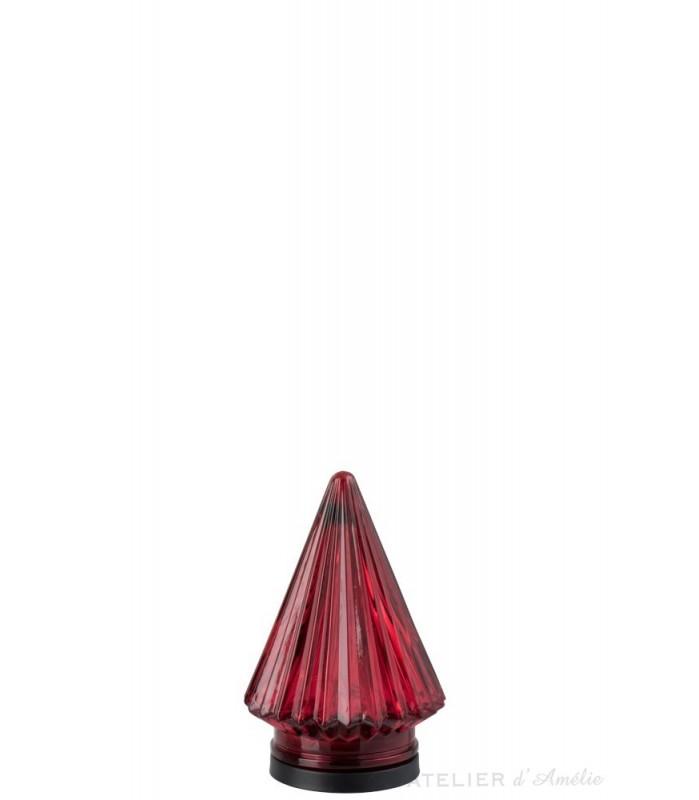 Sapin de noël lumineux en verre rouge