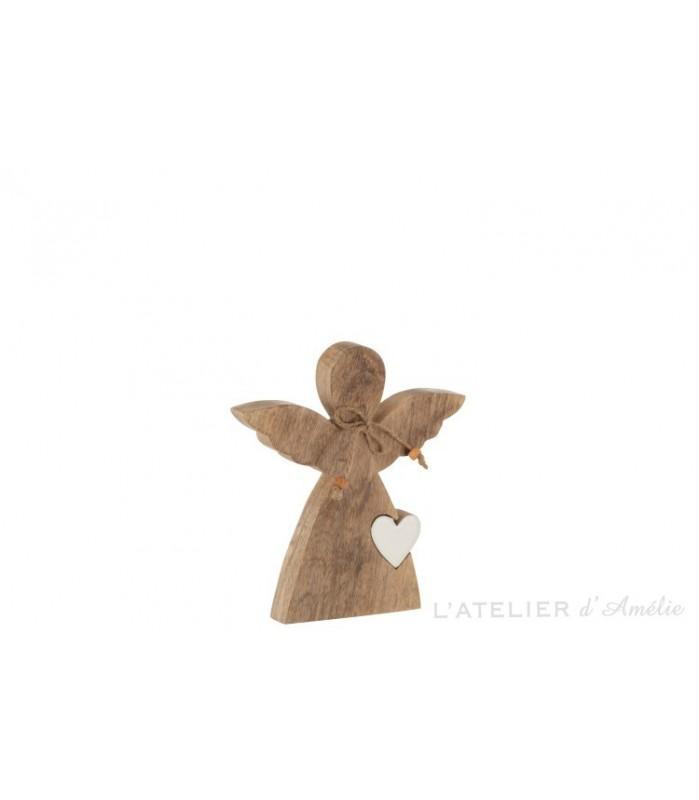 Ange avec cœur bois de manguier Naturel / Blanc