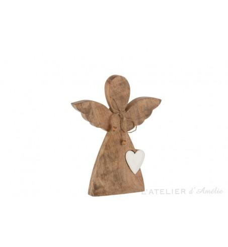 Grand ange avec cœur a poser naturel / blanc