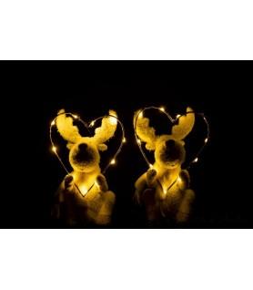 Cerf avec cœur led résine Blanc / Or dans la nuit