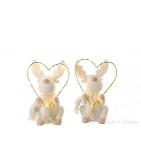 Cerf avec cœur led résine Blanc / Or