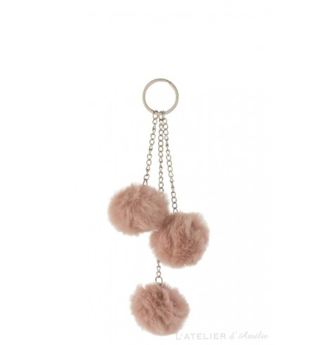 Porte-clés 3 boules textile rose