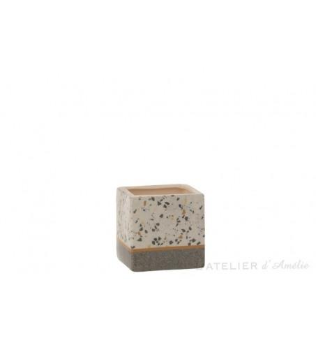Cache pot carré Terrazzo céramique Gris / Ocre Small