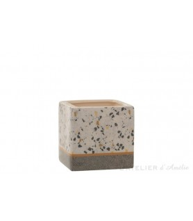 Cache pot carré Terrazzo céramique Gris / Ocre Medium