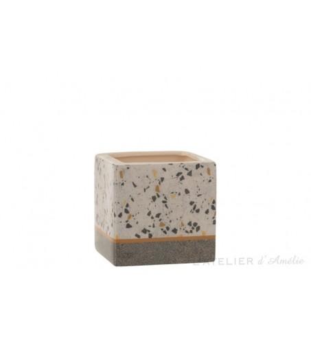 Cache pot carré Terrazzo céramique Gris / Ocre Medium