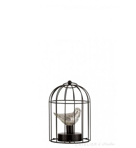 Lampe led Cage métal argent small