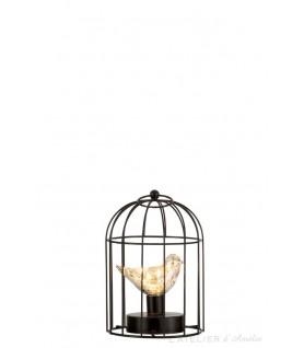 Lampe led Cage métal argent