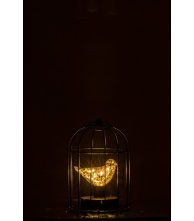 Lampe led Cage métal argent dans la nuit
