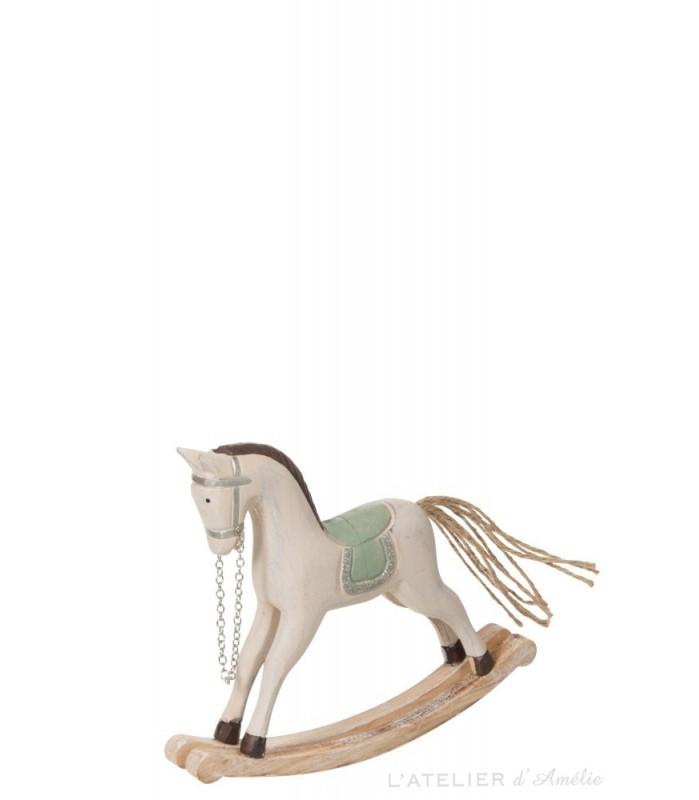 Cheval à bascule bois Naturel / Blanc / Vert