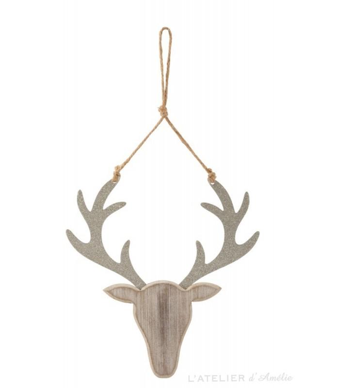 Suspension de Noël tête de renne en bois