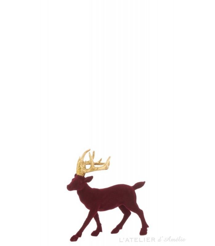Déco de Noël renne Bordeaux et Or